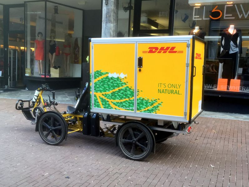 Eco-friendly delivery options - this Green DHL electric delivery cargo bike is a perfect example
