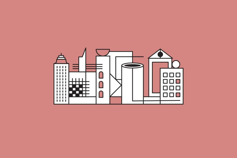 outlined buildings on pink background